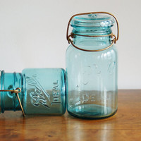 Blue Ball Canning Jars, Set of 2 Turquoise Ball Ideal Mason Jars, Quart and Pint Size, Gold Brass Tone Wire Bales
