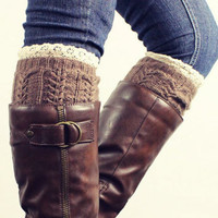 Pair of Chic Lace Edge Hemp Flower Jacquard Knitted Boot Cuffs