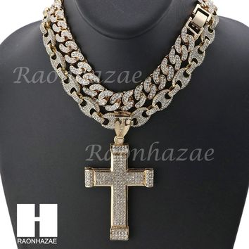 "Iced Out Large Cross Pendant 16"" Iced Out Choker 18"" Puffed Gucci Chain Set G42"
