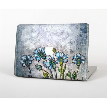 The Watercolor Blue Vintage Flowers Skin Set for the Apple MacBook Air 11""