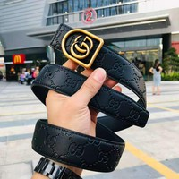 GUCCI 2018 new wild men and women models casual smooth buckle belt