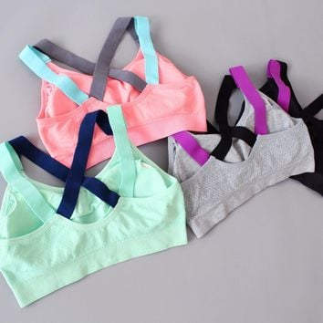 Women Cross Back Push Up Padded Sports Bras Wirefree Shockproof Gym Fitness Athletic Running Yoga Crop top deportivo mujer