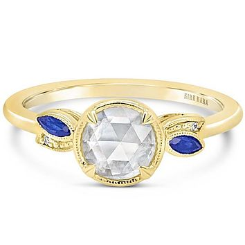 Kirk Kara Rose Cut White Diamond & Blue Sapphire Leaf Engagement Ring