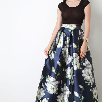 Floral Pleated A-Line Maxi Skirt