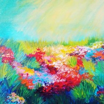 ETHERIAL DAYS - Stunning Floral Landscape Nature Wildflower Field Colorful Bright Floral Painting Art Print by EbiEmporium | Society6