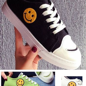 Smiley Face Canvas Sneakers - 4 Colors