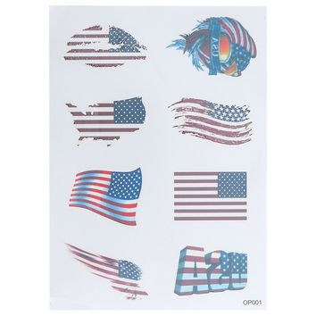 American Country Flag Tattoo Stickers Body Face Art Tattoo Decals for National Day Independence Day 4th of July