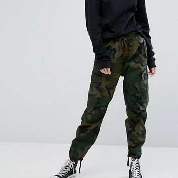 Carhartt WIP Relaxed Boyfriend Cargo Pants In Camo at asos.com