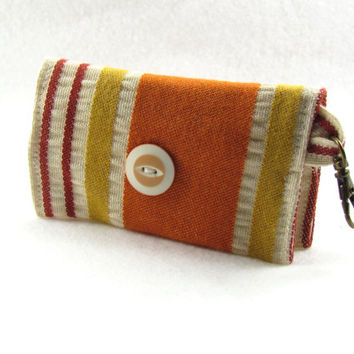 Upcycled Warm Striped Print Business Card Case