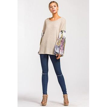 Boho Style Balloon Sleeve Top - Taupe
