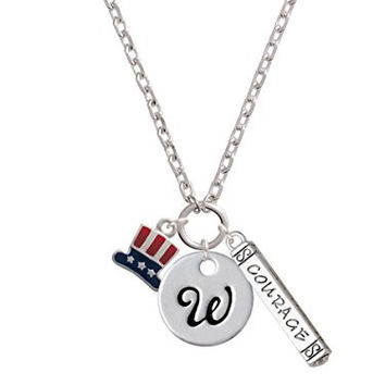 Mini USA Uncle Sam Hat Script Initial Disc - W - Courage Strength Wisdom Zoe Necklace