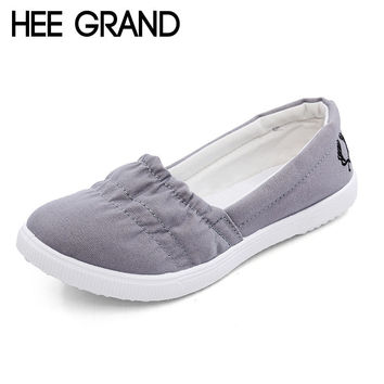 HEE GRAND Women Loafers Soft Slip On Canvas Flats Shoes Woman Solid Casual Breathable Shoe For Mother Platform Shoes XWF293
