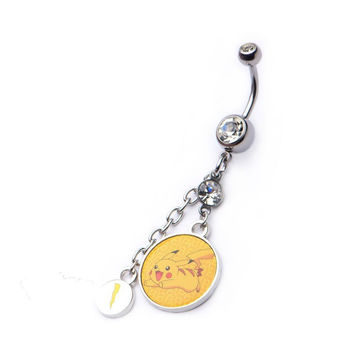 Pokemon Pikachu Dangle W Lightning Bolt Charm Navel Ring With Gem