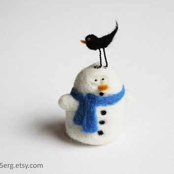 Bird on it - Snowman Tree Ornament  Needle Felt Christmas Plushie