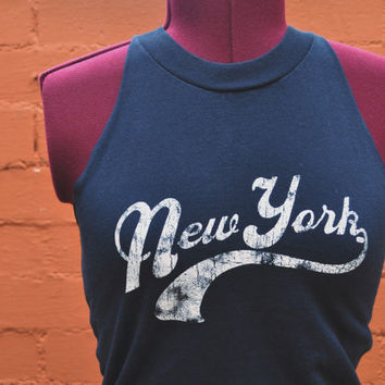 New York Logo Navy Blue Women's Tank Made from Salvaged by SewRed