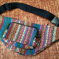 Multicolored Fanny pack bum bag Boho Ethnic tribal pattern fabric belt belly festival Pouch Travel phanny waist Hippies Bohemian red blue