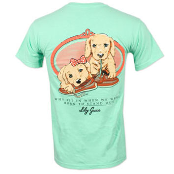 Lily Grace Boatshoe Puppies T-Shirt - Mint