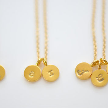 Dainty Tiny Gold Vermeil Initial Necklace, Personalize Initial Necklace,  Couple's Necklace, Mother's Necklace, New Mom Gift
