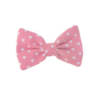 Mini Bow | Vintage  Pink + Tiny Hearts | Barrette or Brooch