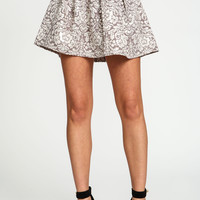 Metallic Floral Pleated Skater Skirt