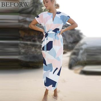 BEFORW Summer Dress Fahsion Multicolor Printing Women Dresses  V Neck Long Dress Casual Beach Maxi dress Vestidos
