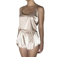Satin Crop Camisole & Shorts Twin Set