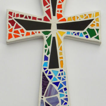 "Mosaic Wall Cross, Rainbow + Black Glass, Multicolored Handmade Stained Glass Mosaic Design, 12"" x 8"""