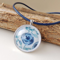 Blue Floral Necklace, Liberty of London Flower Fabric Resin Pendant on Leather Necklace, Blue Jewelry, Boho Chic Resin Jewelry, UK (141)