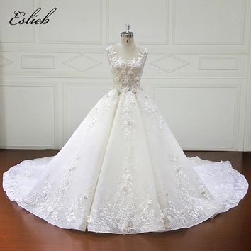 Eslieb Luxury Full Flowers Crystal Pearls Wedding Dress 2018 Ball Gown Royal Train Wedding Dresses vestidos de novia
