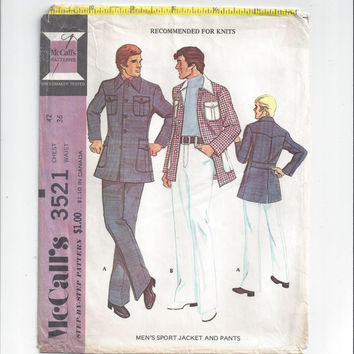 McCall's 3521 Pattern for Men's Sport Jacket & Pants for Knits, Vintage Pattern, Chest 32, Waist 36, from 1974, Sewing for Men, Leisure Suit