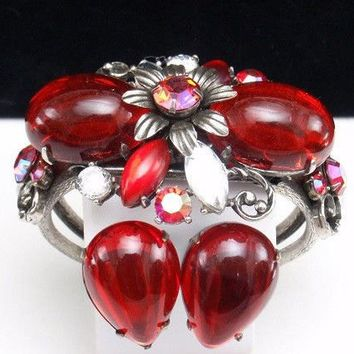 Vintage Selro Selini Chunky Ruby Red Cuff Bracelet And Earrings Set