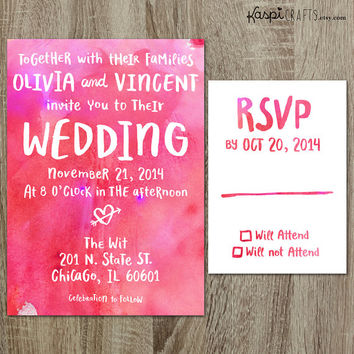 Handwritten invitation - printable wedding invitation - DIY - customize with your wedding colors