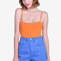 Deadstock Mindy Textured Sweater Tank - Orange