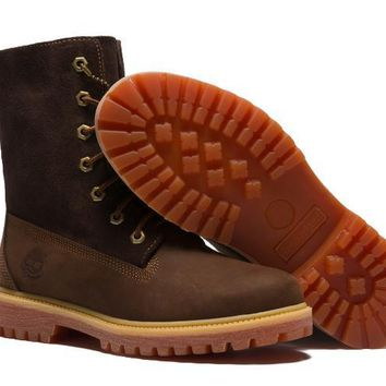 Timberland Rhubarb Boots Keep Warm Brown  For Women Men Shoes Waterproof Martin Boots