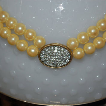 Vintage - 1970s Avon Necklace - Faux Double Pearl Strands- Cream or Yellow Pearl - Rhinestone Pendant