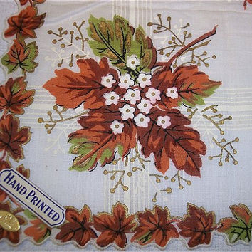 Vintage Fall Hanky NWT Cotton Leaves Floral Brown Green Gold Handkerchief Hankie Scalloped Edge