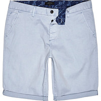 River Island MensPale blue slim chino shorts
