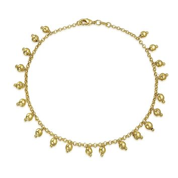 Bling Jewelry Gold Filled Anklet 5mm Dangling Beads Ankle Bracelet 10in