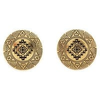 TRIBAL ETCHED MEDALLION EARRINGS