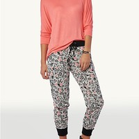Black/Neon Coral Abstract Geo Terry Jogger