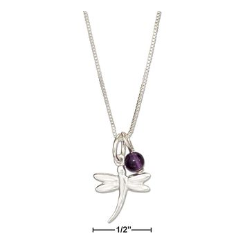 """Sterling Silver Necklace:  18"""" Dragonfly Pendant Necklace With Amethyst Bead"""