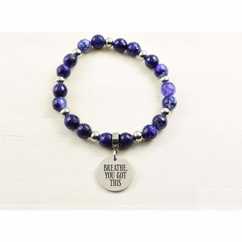 Genuine Agate Inspirational Bracelet - Purple - Breathe You Got This