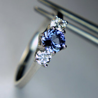 Genuine Tanzanite Round in an Accented Sterling Silver Ring