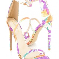 Floral Strappy Single Sole Sandal High Heels Fabric