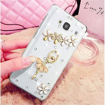 Luxury 3D dragonfly gem umbrella bling Crystal diamond Mobile phone Shell Back Cover Skin Hard Case For Xiaomi Hongmi 2 Redmi 2