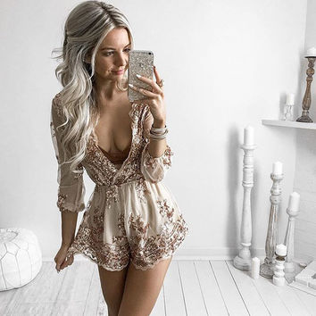 Gold Floral Dress Hot Sale Jumpsuit [11564617871]