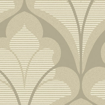 Damask Geometric Wallpaper in Metallic, Ivory and Brown design by Seabrook Wallcoverings