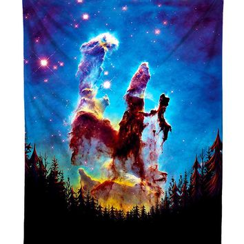 Tree Space Rainbow Nebula Forest Galaxy Tapestry
