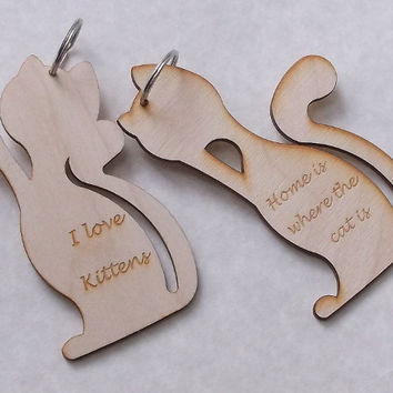 Wooden Cat Key Ring With Motto Engraved, Home decoration, Birch Wood, Lasercut
