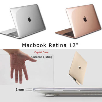 "Transparent Crystal Plastic Hard Clear Laptop Shell Case Cover Skin For Apple New MacBook 12"" Retina"